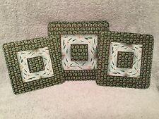 Set of 3 Temp-tation Old World Wire Rack Glass Trivets Leafy Green Three Sizes