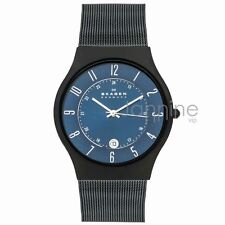 Skagen Authentic Watch T233XLTMN Blue Dial Titanium Stainless Steel Mesh Men's
