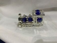 "made with SWAROVSKI CRYSTAL ELEMENTS ""TRAIN"" LOCOMOTIVE FIGURINE SILVER PLATED"