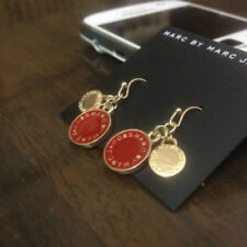 New Marc by Marc Jacobs Gold Dark Red & Gold Logo Charms Hook Dangle Earrings