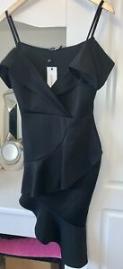 BOOHOO  SIZE 12 Body Con Off Shoulder Club Dress In Black Brand New With Tags