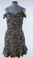 ZARA Off Shoulder Black Mini Floral Tee Dress Ruffle Frilled Wrap Front size S