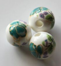 25pcs 12mm Round Porcelain/Ceramic Beads - White / Dark Teal Flowers