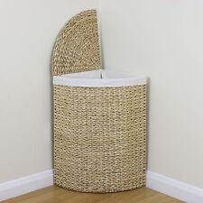Corner Woven Laundry Basket Cloth Lining Lid Hamper Bin Wicker Washing Storage