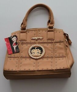 NWT Betty Boop Purse Faux Leather Purse w/ Studs Camel Color Officially Licensed