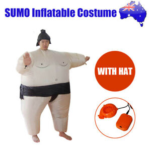 New SUMO Fancy Dress Fan Inflatable Costume Suit with Hat Polyester AU Stock
