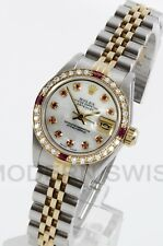 Rolex Ladies Datejust 18K Gold Steel MOP Ruby Diamond Bezel Jubilee Quickset 2YR
