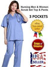 Medical Doctor Nursing Men Women Scrub Set 2 Piece Suits Shirt Pants Uniform