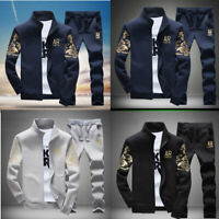New 2Pcs/Set Men Jacket+Pants Tracksuit Sport Jogging Athletic Sportswear Casual