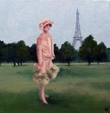 "French Fancy in Paris  Nostalgic Original Oil Painting  Wendy Warwick 8"" X 8"""