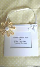YELLOW flower hanging mini photo frame your own personal message plaque keepsake