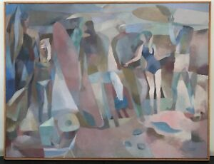 Abstract Contemporary Surfing Beach Scene Painting Signed and Dated, Framed