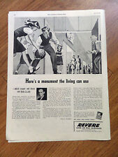 1944 Revere Copper Brass Ad Here's A Monument the living can use