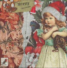 2 Serviettes en papier Noël Fillette Chaton Rétro - Paper Napkins Christmas Girl