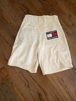 Vtg Tommy Hilfiger Men's Beige Flag Box Logo Carpenter Shorts Size 32
