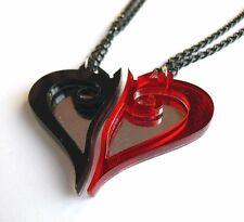 Kingdom Hearts best friends necklaces Laser cut black red plastic