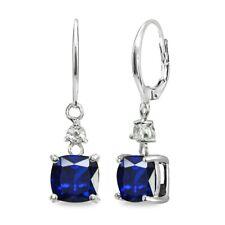 Oval Created Blue Sapphire & White Topaz 925 Silver Dangle Leverback Earrings