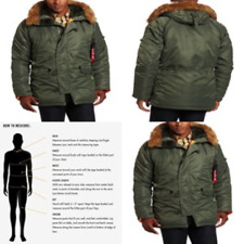 Alpha Industries Mens N-3B Slim-Fit Parka Jacket with Removable Faux-Fur Hood