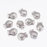 10pcs Tibetan Silver color 3D Fish design beads h0004