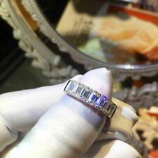 14k White Gold 2.30 Ct Emerald Cut Diamond Half Eternity Engagement Wedding Band