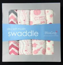 BlissCosy Silky Soft Muslin Swaddle Blankets 4 Pack Gift Box 47'' X 47'' Pink