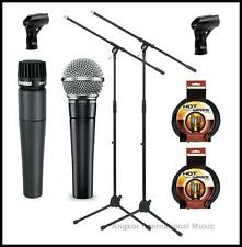 Shure SM58-SM57 Vocal Instrumental Microphones Bundle + Boom Stands xlr Cables