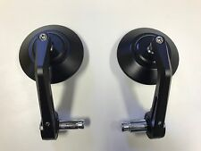 Pair (2) HIGH QUALITY Cafe Racer Bar End Mirrors  Black Aluminium CNC 7/8 22mm