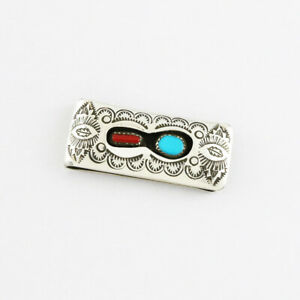 NATIVE AMERICAN NAVAJO CORAL & TURQUOISE MONEY CLIP BY SHIRLEY SKEETS