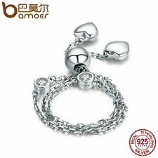 BAMOER Solid 925 Sterling silver Bracelet Chain with Crystal clear Women Jewelry