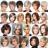 Ladies Short Blonde Layered Straight Bob Hair Women Party Wig Cosplay Full Wigs