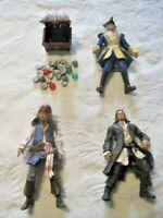 """Disney Pirates of the Caribbean Lot ~ 4"""" Action Figures, Treasure Chest w/Coins"""