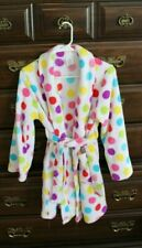 Girls White Polka Dot Fleece Long sleeve Robe 10 12 Large L