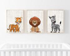 Bild Set Dschungel Tiere Kunstdruck A4 Tiger Löwe Zebra Kinderzimmer Deko Druck
