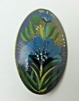 Oval Hand Painted BROOCH Blue Floral Vintage Russian Lacquer Pin Signed