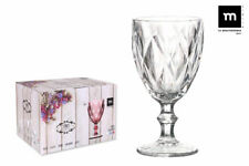 6X CLEAR Vintage RED WINE GLASSES 350ml beautiful gift box
