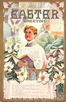 Easter Greeting c1910 Embossed Postcard Choir Boy Easter Lily Series