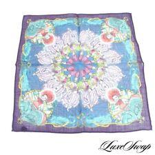 LNWOT Monsieur Fox Italy Silk Wool Purple Multi Can Can Dancers Pocket Square #2