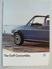 Prospekt Volkswagen VW Golf I Convertible, 8.1986, 12 Seiten, englisch