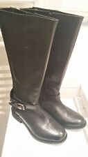 Evans Long Length leather Riding Black Boots, Size 5 EEE, extra wide calf panel