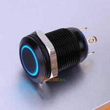 12mm Waterproof Flat Top Blue LED Metal Monmentary Push Button ON/OFF Switch NEW