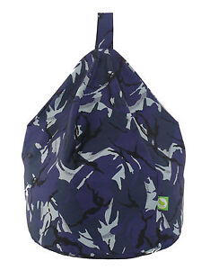 Child Size Urban Camo Camouflage Blue Bean Bag Gaming Chair With Beans
