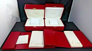 Lot Cartier wrist watch box case storage booklet vintage set yy250200721