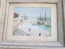 Peinture signée Y. Blanchon . bord de mer bateaux marine