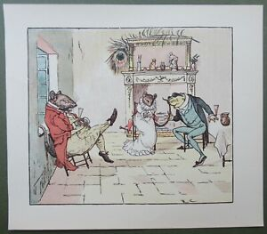 A Frog He Would a Wooing Go Mrs Mouse Randolph Caldecott Antique Print 1910
