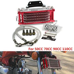 Red Aluminum Motorcycle Oil Cooler Radiator Kit For 50 70 90 110CC Racing Bikes