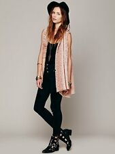 Free People In Your Arms swing sweater cardigan vest coral tan camel rose NWT L