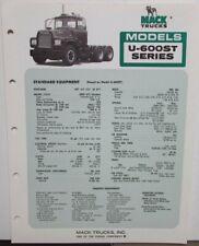 1976 Mack Trucks Model U-600ST Diagram Dimensions Sales Brochure Original