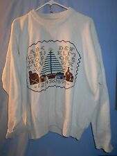 UGLY CHRISTMAS HOLIDAY  SWEATER CREW IVORY TEACHER  LARGE IVORY TREE SCHOOL