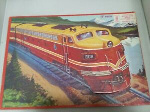 "Vintage 1958 MB Milton Bradley Train Puzzle Aptitude Tested-14"" by 10""-17 pcs."