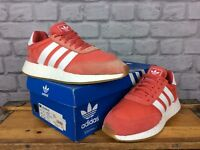 ADIDAS LADIES UK 7 EU 40 2/3 RED WHITE GUM I-5923 BOOST TRAINERS RRP £100